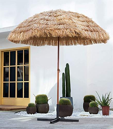 SJBD-Coaster Sombrilla de jardín Sombrilla de Patio con inclinación Tiki, Sombrilla de Mercado al Aire Libre/Sombrillas Redondas, Sombrilla de Playa con Techo de Paja de Rafia Tropical