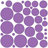 N.SunForest 34 Lilac Polka Dots Vinyl Wall Decals Removable D¨¦cor Stickers Home Kitchen Baby Nursery Wall Art Mural