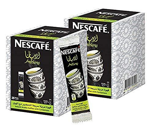 2 Box Instant Nescafe Arabiana Arabic Coffee With Cardamom Natural Arabian Strong Rich Pure Traditional Oriental Enjoy Authentic Coffee Taste Of From The Gulf Region ( 40 Sticks )