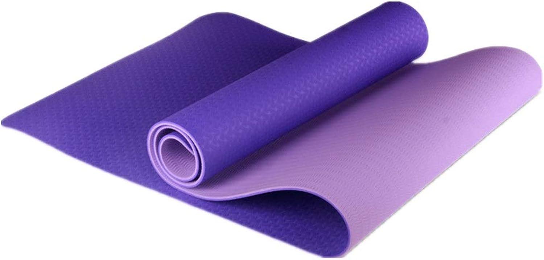 Aihifly Yoga-Matte Fitness-Matte übungsmatte Verdickung Lange Umweltschutz Material TPE Slip Workouts für Mnner und Frauen (Farbe   Deep lila, Gre   1830  610  6mm)