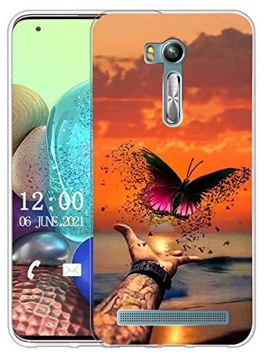 Sunrive Funda Compatible con ASUS Zenfone Go ZB552KL, Sunrive Silicona Slim Fit Gel Transparente Carcasa Case Bumper de Impactos y Anti-Arañazos Espalda Cover(X Mariposa)