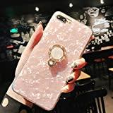 iPhone 8 Case,iPhone 7 Case, WATACHE Seashell Pattern Soft TPU Shock-Absorption Crystal Bumper Case with Bling Diamond 360 Degree Rotating Ring Grip Holder Kickstand for iPhone 8/7(Pink)