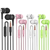 Heavy bass Earphone Color Call with Mic Stereo Earbud Headphones Mixed Colors (Black + White + Pink + Green 4 Pairs)…