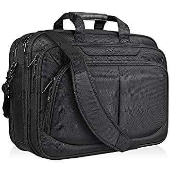 KROSER Laptop Bag For 17  Laptop Briefcase Water-Repellent Expandable Computer Bag Business Messenger Bag Shoulder Bag for School/Travel/Women/Men-Black