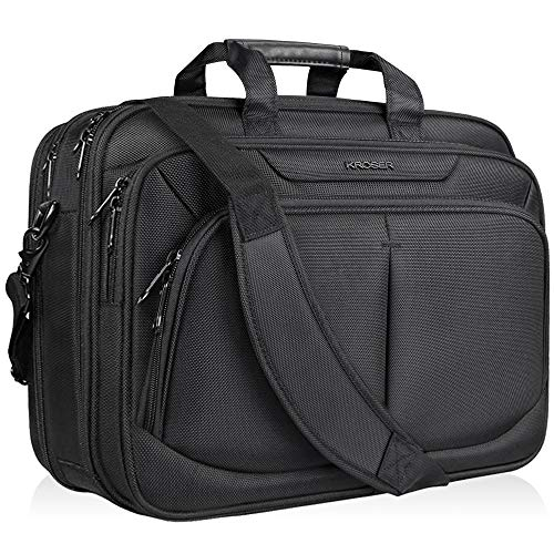 KROSER 17.1' Laptop Bag For 17' Laptop Briefcase Water-Repellent Expandable Computer Bag Business Messenger Bag Shoulder Bag for School/Travel/Women/Men-Black