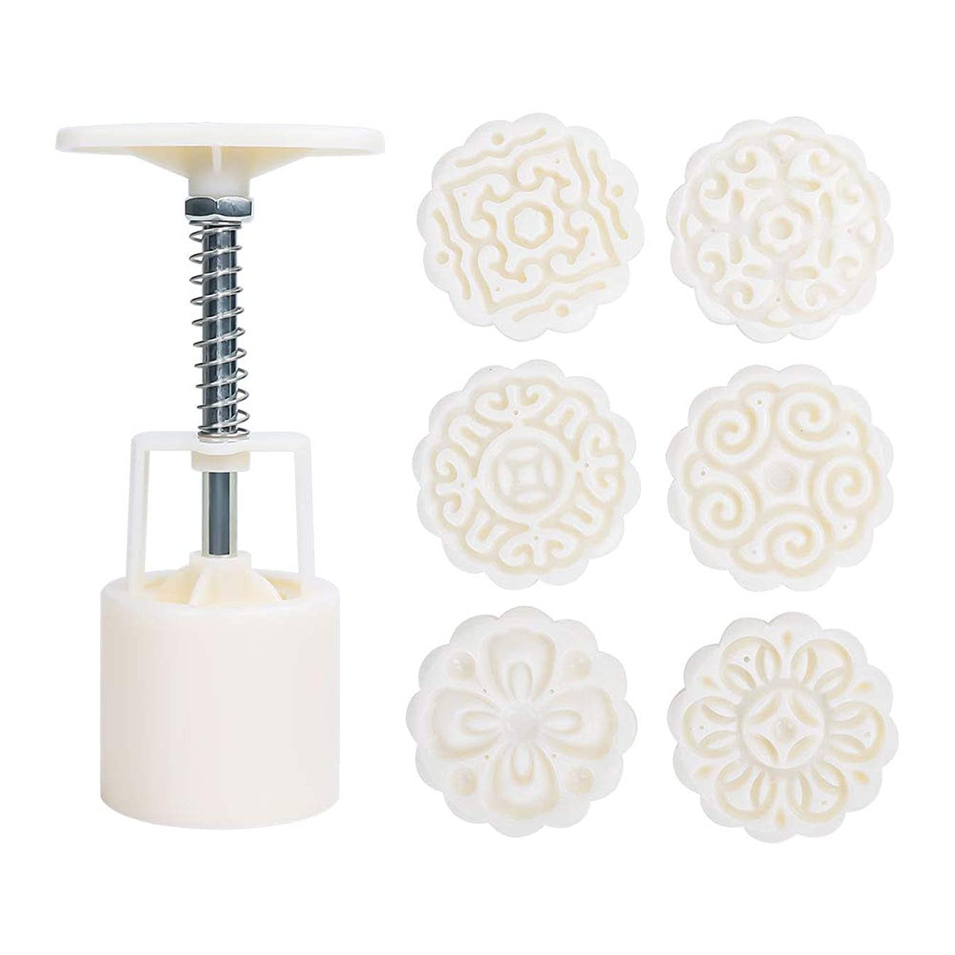 Lahsary Cookie Stamp, 50g Mooncake Mold with 6 Stamps, Flowers Design Cookie Stamp Moon Cake Mold Stamps - Mid Autumn Festival Cookies Cutters - DIY Decoration Mooncake Press Molds (White)