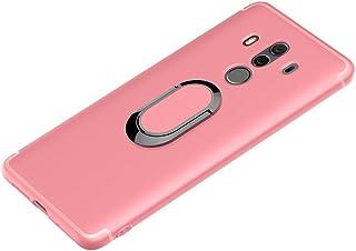 Huawei mate10 Proケース ソフトTPUラバーシリコン耐衝撃ケース マグネット内蔵 メタルリング キックスタンドホルダー (ピンク)