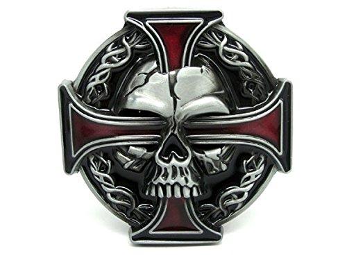 Biker belt buckle, skull and Celtic cross design, red, 80mm Wide 80mm High