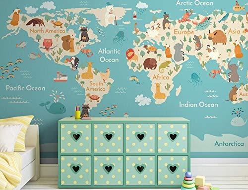 Mapa del mundo Papel tapiz 3D Rollo de fotos grande Murales para habitación de niños Telón de fondo de TV Tamaño personalizado Arte Decoración de pared Textil 400(W) X280(H) Cm