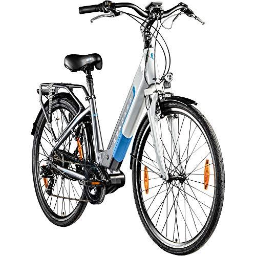 Zündapp E Bike Damen 700c Pedelec 28 Zoll E Hollandrad Damenrad Z901 Cityrad (grau/weiß, 46 cm)