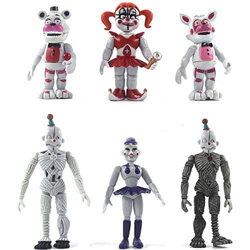 BESTZY Five Nights at Freddys Action Figure 6pcs Foxy, Gold Freddy, Chica e Endoscheleton Freddy(4,5 Pollici)