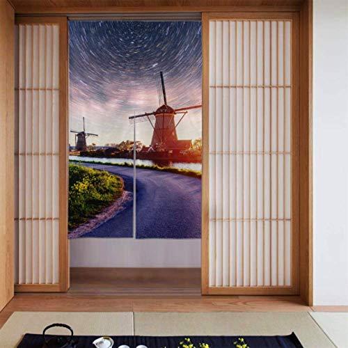 Türvorhang für Männer Bunte Frühlingsnacht Traditionelle niederländische Windmühlen Mädchen Vorhänge für Schlafzimmer Küchenvorhänge Fenster Langer Typ für Wohnküchentür Dekoration 34 x 56 Zoll (86x1