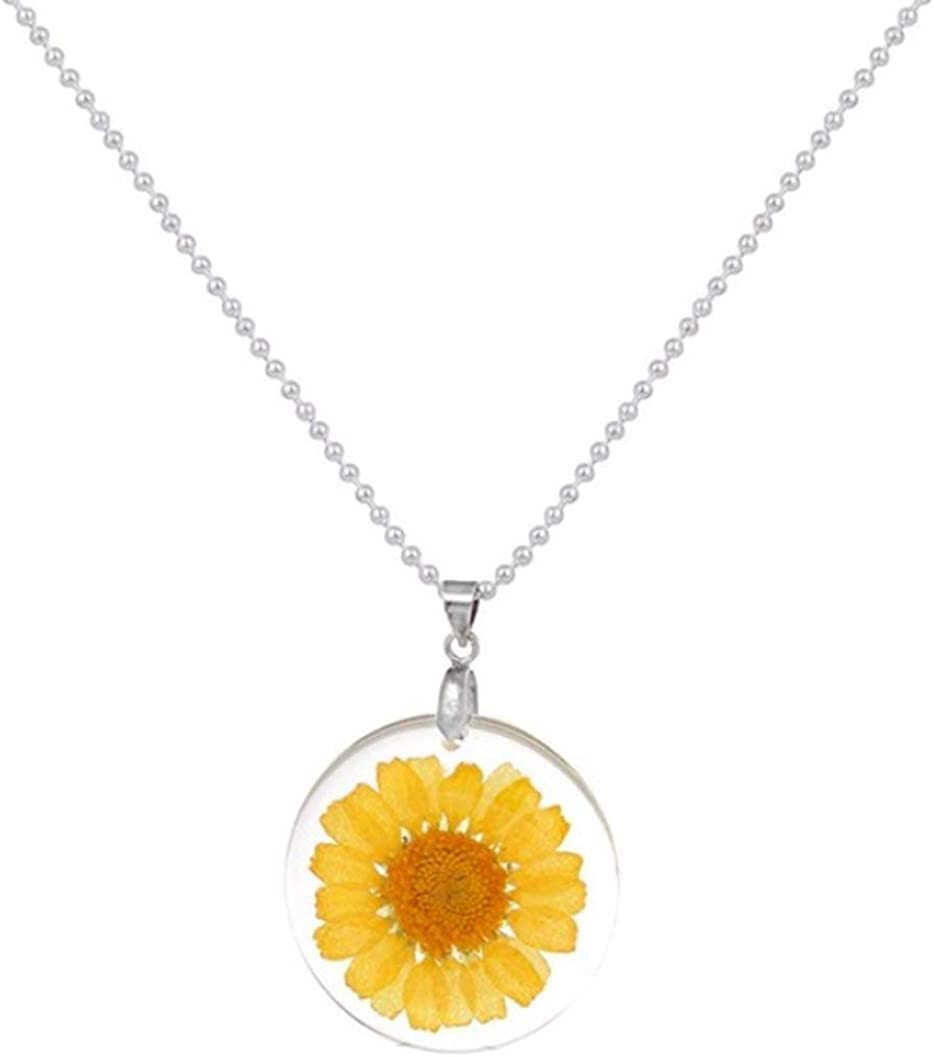 StylesILove Women Pressed Natural Daisy Flower Resin Pendant Necklace