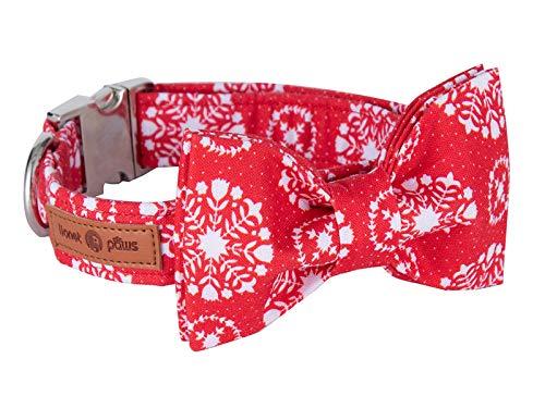 lionet paws Hundehalsband mit Fliege, Langlebiges Bequemes Baumwolle Halsband mit Metall-Klickverschluss für Hunde, Hals 40-60cm