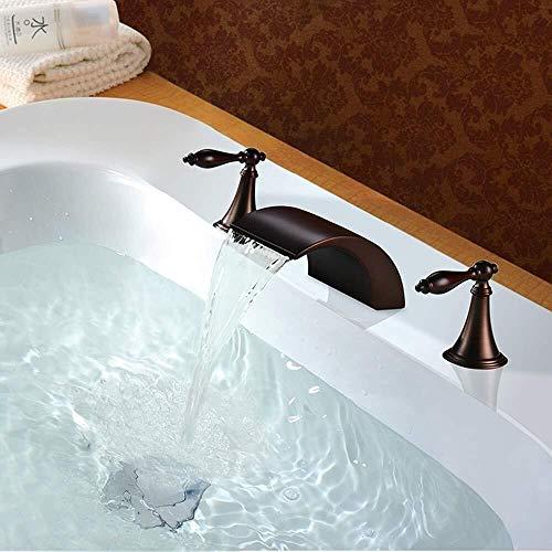 WKLIANGYUANPING Grifo Lavabo Cascada Cuenca del Grifo Caliente y fría de la manija Doble Lavabo bañera Grifo de la Cascada, baño Antiguo Grifo (Size : M1236OW)
