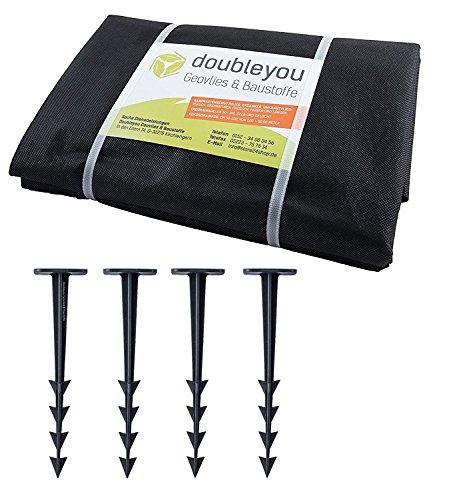 Doubleyou Geovlies & Baustoffe Pflanzenschutz und Sandkastenvlies schwarz, mit 4 Erdankern gratis XXL 3,20 x 3,20 m schwarz - Schutzvlies für Sandkasten + 4 x Erdanker