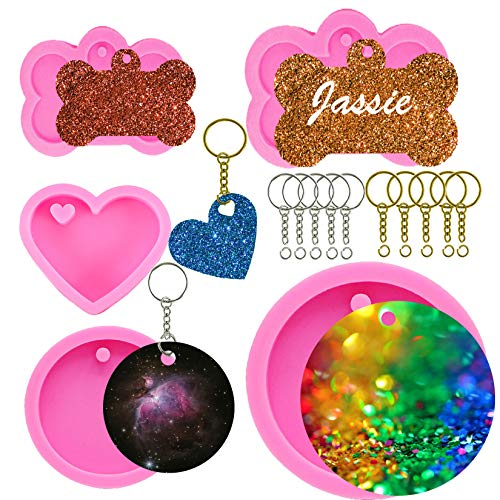 5 Pack Dog Tag Mold, Round Keychain Ornament Molds Circle Heart Bone Silicone Mold for Resin Epoxy Casting Pendant Chocolate Cupcake Key Chain (5)