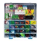 VOANZO Juego de 146 señuelos de pesca para bajo, incluye crankbaits, gusanos de plástico suave, señuelos de metal giratorio, señuelos de rana de agua superior, con caja de aparejos