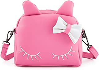 Cute Cat Ear Kids Handbags Candy Color Crossbody Bags PU Leather Shoulder Bags (pink)