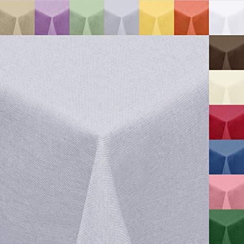 Melody Textil Tischdecke Leinen-Optik 160 x 220 cm oval hellgrau Fleck-Schutz Tischtuch #8001