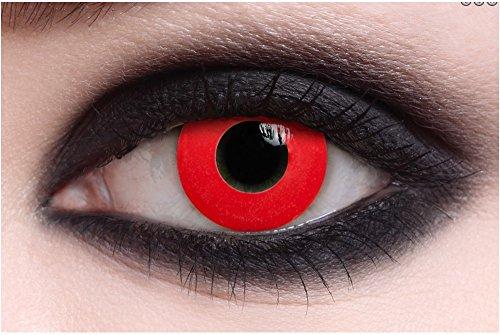 Lentillas para halloween de color lentes contacto sin corrección fantasía crazy disfraz anuales válidas 1 año (all red vampire)