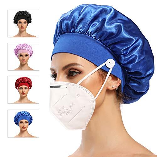 Satin Bonnet for Curly Hair Bonnet for Women, Silk Bonnet for Natural Hair Cap for Sleeping Silk Cap for Black Women Satin Head Wrap with Buttons(4 Pack)