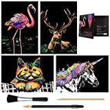 Scratch Art Paper(A4) for Kids & Adults, Rainbow Painting Night View Scratchboard, Art Craft, Crafts Set: 4 Scratch Cards Unicorn/Flamingo/Cat/Deer & Scratch Drawing Pen, Clean Brush (Gentle Animal)