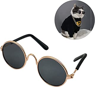 DELFINO Pet Dog Cat Sunglasses Classic Metal Frame Small Round Pet Sunglasses for Special Tidal Glasses for Cats or Small ...