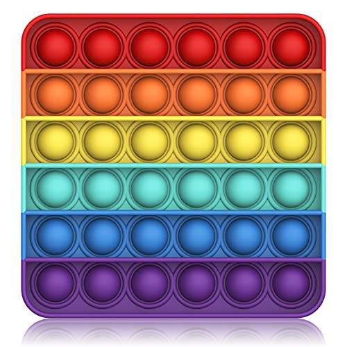 Bdwing Push And Pop Bubble Sensory Fidget Toy, Giocattolo Sensoriale per Autismo Bisogno Speciale Antistress Ansia Sollievo, Spremere Giocattoli a Bolle di Estrusione per Bambini Adulti (Rainbow-s)