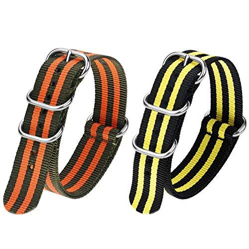 Fullmosa Correa de reloj de nailon de 22 mm en 10 colores, serie Zulu, con cierre de metal de acero inoxidable ajustable, para hombre y mujer, negro + amarillo, verde militar + naranja, 22 mm