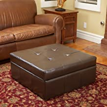 Christopher Knight Home Westridge Brown Leather Storage Ottoman