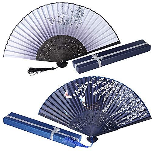 Set van 2 Japanse waaiers met geschenkdoos handwaaiers dames vouwwaaiers Japanse Chinese waaiers bamboe wandwaaiers vlinder vintage hout zakwaaiers decoratie bruiloft party dansen kostuum grijs/blauw