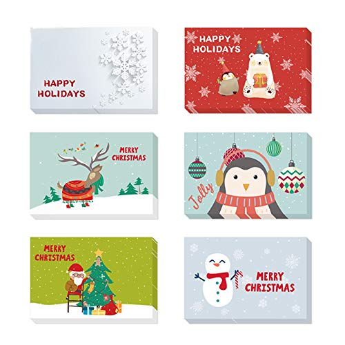 FLZONE 24pcs Cartoline di Natale,Confezioni di Biglietti di Natale Con Buste e Adesivi,Cartoline di Natale Nota Vuota Carta,Biglietti di Ringraziamento di Natale