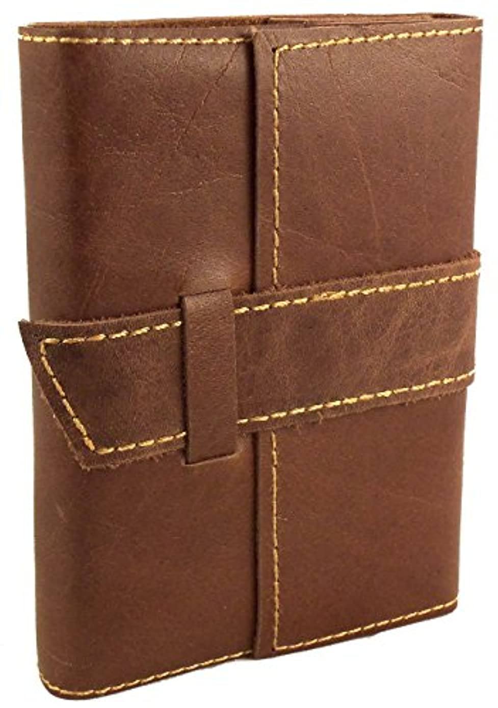 Rustic Ridge Distressed Leather Pocket Journal with Handmade Paper - Pocket Size Travel Journal (Saddle Brown)