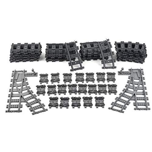KOAEY City Trains Binari per Lego, 61 Pezzi Binari Ferroviari Curvi Binari Flessibili Scambi Ferroviari Set Compatibile con Lego Treno della Città