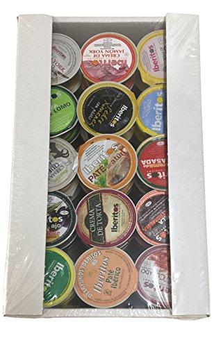 Variado de patés y cremas de Iberitos bandeja de 45 unidades x 23 gramos monodosis para untar en desayunos, aperitivos o meriendas