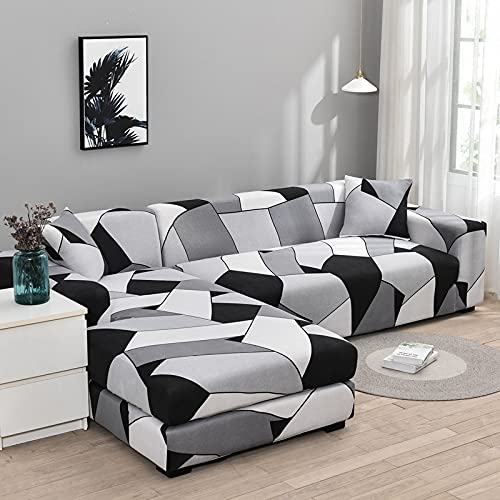 PPOS Funda de sofá en Forma de L Fundas elásticas Fundas de sofá elásticas para Sala de Estar Funda de sofá seccional Chaise Longue D22 3 Asientos 190-230cm-1pc