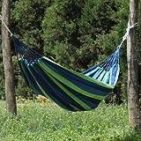 ガーデンハンモックポータブルキャンバスストライプ通気性 ポータブルハンモックアウトドアハンモックガーデンスポーツホーム旅行キャンプは、キャンバスストライプハングベッドハンモックレッド、ブルー190 X 80センチメートルスイング (Color : Blue 1(no stick))