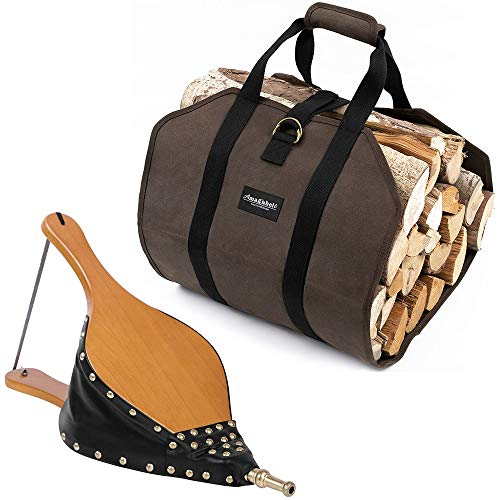 Best Deals! Amagabeli Wood Fireplace Bellows 19x 8 Bundle Fireplace Carrier Waxed Large Canvas Log...