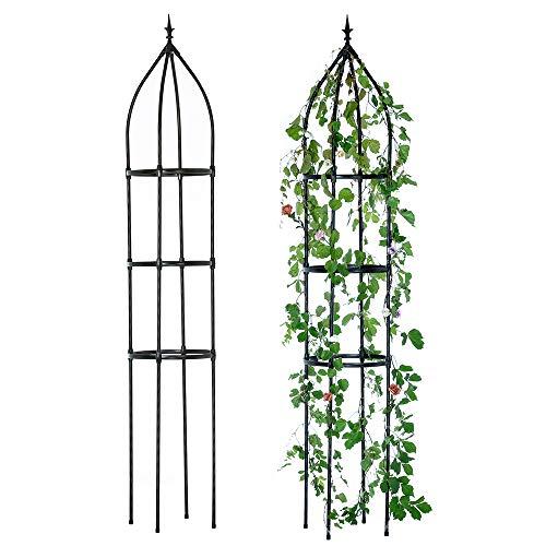 Hin Green Garden Obelisk Trellis, Durable Garden Trellis for Climbing Plants Outdoor, 7.3 Feet Tall, Trellis for Potted Plants and Jasmine Plant, Decorative Vertical Gardening, Black, 5 lbs, 1 pcs