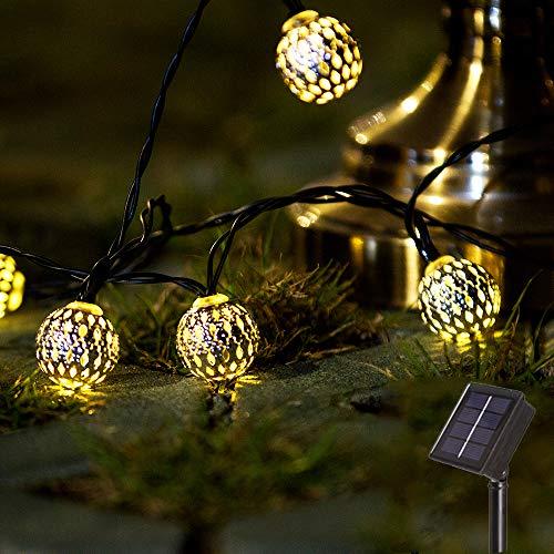 20 LED Light Moroccan Ball Solar String Lights Outdoor, Fairy Lights Solar Garden Light Waterproof String Lights for Patio, Yard, Tree, Christmas, Wedding Decor-12.8ft(Moroccan Ball)