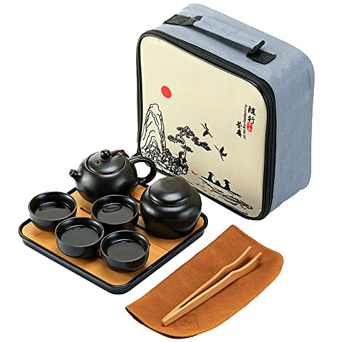 Annahom Chinese Tea Pot Cup Set with Tray – Japanese Ceramic Tea Set Porcelain Teapot for Women, Picnic Set Portable All in One Gift Bag for Travel Outdoor Business Hotel (Black)