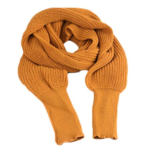 YOYOHO Coperta Invernale Lavorata a Maglia da Donna Coprispalle Lungo con Maniche Sciarpa in Maglione Tinta Unita - Giallo