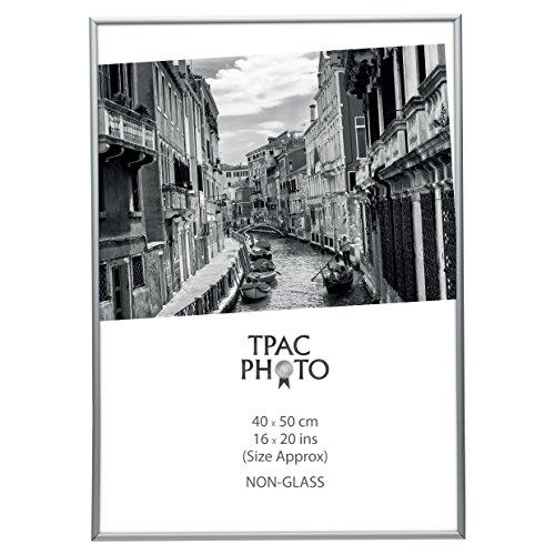 Hampton Frames Aluminio Plata 40x50 cm Foto Marco Certificado de Apertura de Foto no Vidrio PAAF4050B