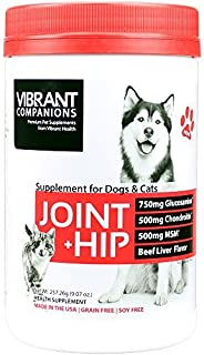 Vibrant Companions - Joint + Hip for Dogs and Cats, Supports Joint Health, Repair, and Mobility with Glucosamine, Collagen, and Turmeric, Gluten Free, Dairy Free, Beef Liver, 9.07 Oz (FFP)