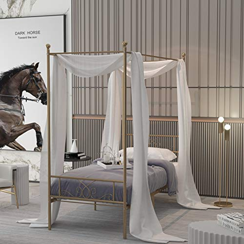 WeeHom Unique Canopy Bed Frame with 4 Posters Vintage Classic Design Metal Bed Frame No Box Spring Needed Support Mattress Foundation Twin Gold