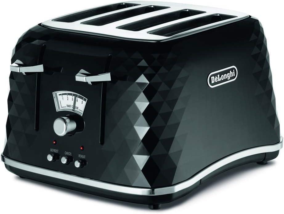 De'Longhi Brilliante 4-slot toaster, reheat, defrost & 6 browning settings, removable crumb tray, CTJ4003BK, Black