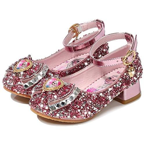 AIYIMEI Disfraz Princesa Zapatos Elsa Zapatos de Lentejuelas Antideslizante Niñas Zapatos de Tacón Velcro Zapatillas de Baile para Vestir Fiesta Cumpleaños Boda Infantil 3-11 Años