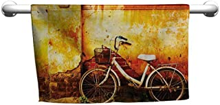 DIMICA Floral Hand Towels Bicycle Vintage Bike in Front of A Rusty Dirty Cracked Broken Brick Wall Lifestyle Artsy Photo Bath Towel 27 x 14 inch Sepia