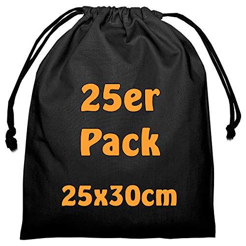 Cottonbagjoe Baumwollbeutel Stoffbeutel mit Kordelzug Lunchsack Kosmetikbeutel Sockenbeutel Schmucksäckchen Spielzeugtäschchen für Kleinigkeiten 25x30cm (schwarz, 25 Stück)